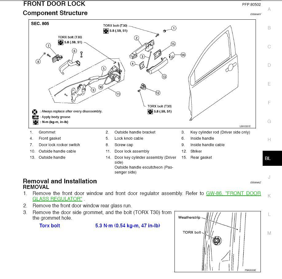Front Door Lock Actuator Nissan Titan Forum