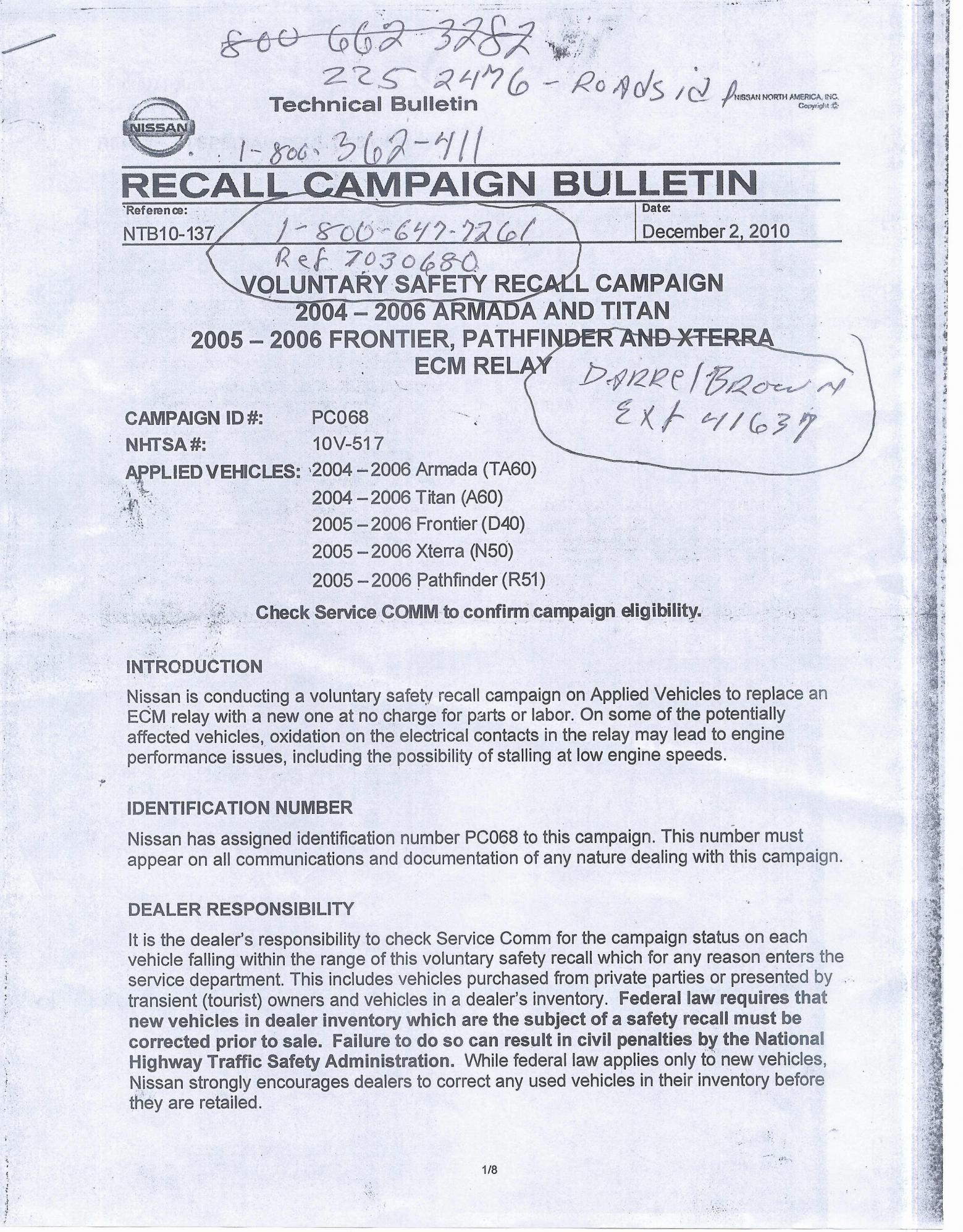 Recall Bulletin on ECM Relay | Nissan Titan Forum