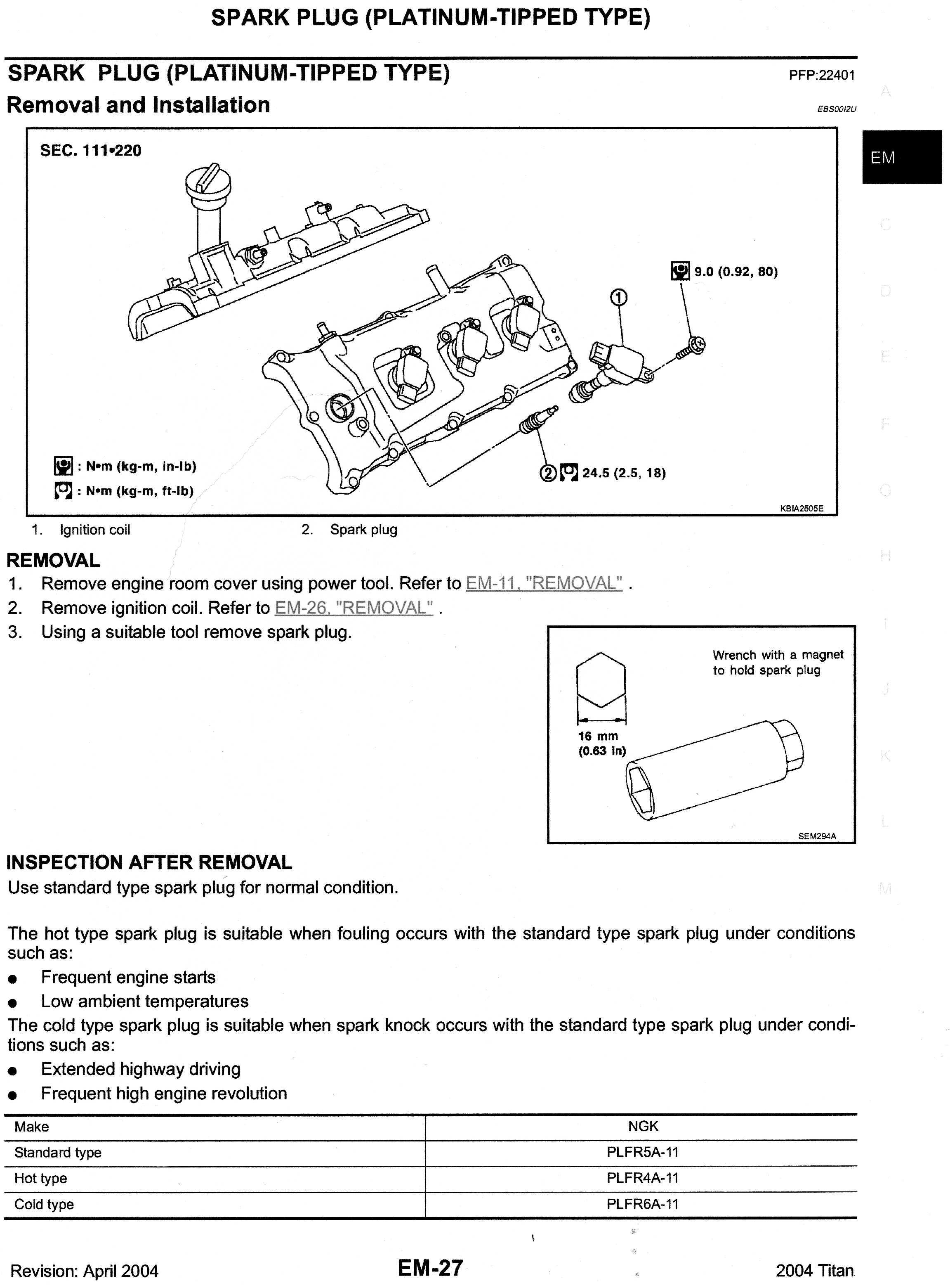 Sparkplugs Type Torque Gap How To Nissan Titan Forum Ford Spark Plug Settings Amp Img021