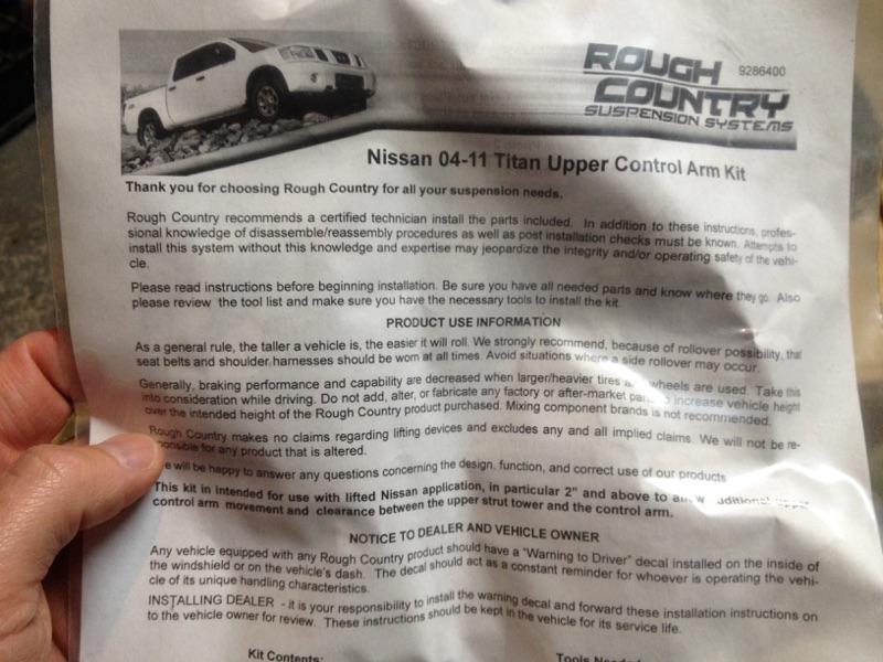 Rough Country control arms #864   Nissan Titan Forum