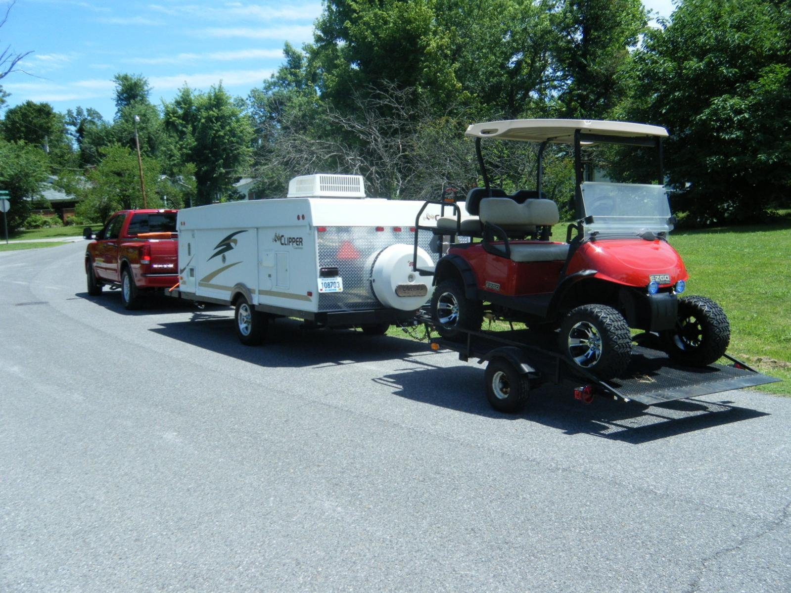 Hauling Golf Cart, pulling camper- with tailgate down ... on ford truck bed extender, kayak truck bed extender, chevrolet truck bed extender, hyundai truck bed extender, golf cart truck ramps, golf cart roof extender, nissan truck bed extender, golf cart wheel extender,
